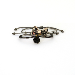 Bow Bracelets Set Black Floral