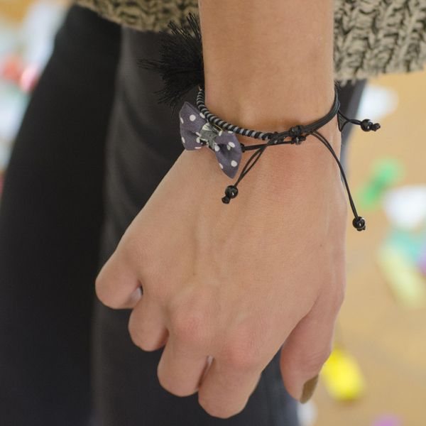 Bow Bracelets Set Polka Grey