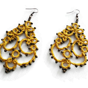 Statement lace yellow earrings - statement, κορδόνια, ethnic, boho, κρεμαστά, πλάτης, πλεκτά, μακραμέ