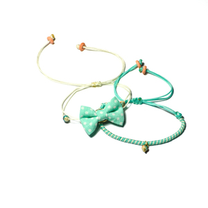 Bow Bracelets Set Mint Polka