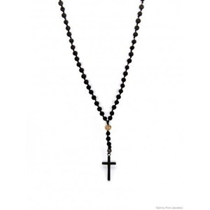 Ανδρικό ροζάριο Lava black/Jasper picture/inox cross