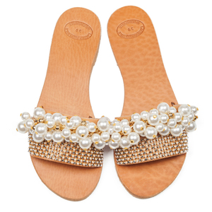 Pearly sandals - slides, δέρμα, romantic, chic, must have, summer, unique, ιδιαίτερο, πέρλες, στρας, νυφικά