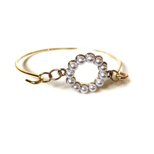 Pearl gold plated bangle