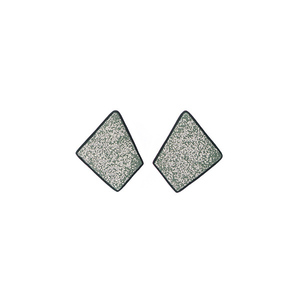 """Shield"" green stud modern earrings"