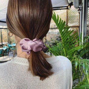 Satin nude scrunchie