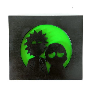 Rick and Morty silhouette handmade 3D wood art