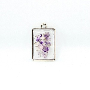 Like Confetti - Purple Square - Pressed Flower Necklace - charms, επιχρυσωμένα, λουλούδι