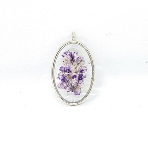 Like Confetti - Purple Oval - Pressed Flower Necklace - charms, επάργυρα, λουλούδι