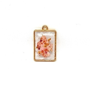 Like Confetti -Orange/Pink Square - Pressed Flower Necklace - charms, επιχρυσωμένα, λουλούδι