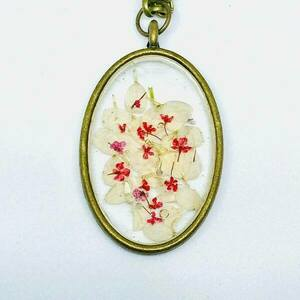 Élodie Vintage - White Oval - Pressed Flowers Necklace - charms, μακριά, λουλούδι