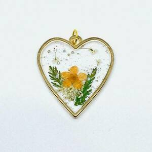 Mon coeur - Pressed Flowers Necklace - charms, μακριά, επιχρυσωμένα, λουλούδι
