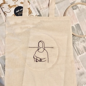 Mona Lisa Embroidery Canvas Bag - ώμου, all day, ύφασμα, πάνινες τσάντες, tote