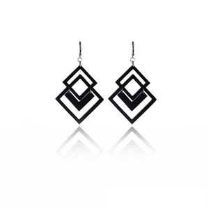 earrings.plexiglass,BLACK,steel,Geometric,(code 5bl) - κρεμαστά, μεγάλα, plexi glass, ατσάλι