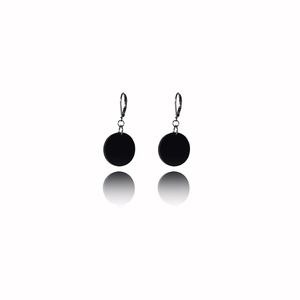 earrings.plexiglass,BLACK,steel,Geometric,( code 3bl) - κρεμαστά, plexi glass, ατσάλι, μεγάλα