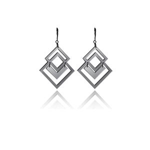 earrings.plexiglass,SILVER,steel,Geometric,(code 5sl) - κρεμαστά, μικρά, plexi glass, ατσάλι