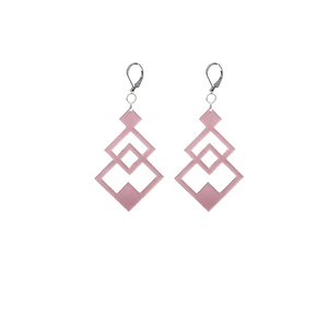 earrings.plexiglass,PINK,steel,Geometric,(code 6p) - κρεμαστά, μεγάλα, plexi glass, ατσάλι