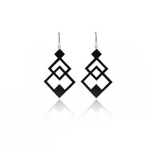 earrings.plexiglass,BLACK,steel,Geometric,(code 6bl) - κρεμαστά, μεγάλα, plexi glass, ατσάλι