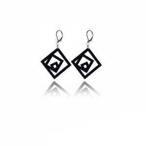 earrings.plexiglass,BLACK,steel,Geometric,(code 7bl) - κρεμαστά, μεγάλα, plexi glass, ατσάλι