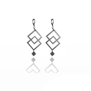 earrings.plexiglass,SILVER,steel,Geometric,(code 8sl) - κρεμαστά, μεγάλα, plexi glass, ατσάλι
