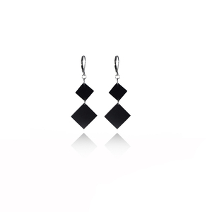 earrings.plexiglass,BLACK,steel,Geometric,(code 9bl) - κρεμαστά, μεγάλα, ατσάλι, plexi glass