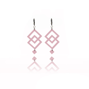earrings.plexiglass,PINK,steel,Geometric,(code 8p) - κρεμαστά, μεγάλα, plexi glass, ατσάλι