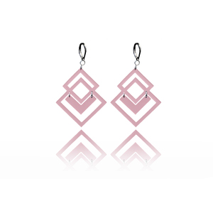 earrings.plexiglass,PINK,steel,Geometric,(code 5p) - κρεμαστά, μεγάλα, plexi glass, ατσάλι