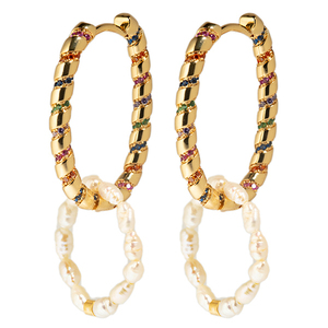 Hanging Pearls Oval Multicolored Stoned Hoops - κρίκοι, μεγάλα, επιχρυσωμένα, ορείχαλκος, πέρλες