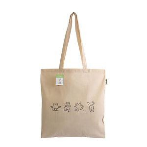 Tote Bag Yogi Cat Organic Cotton - ώμου, tote, all day, ύφασμα, πάνινες τσάντες